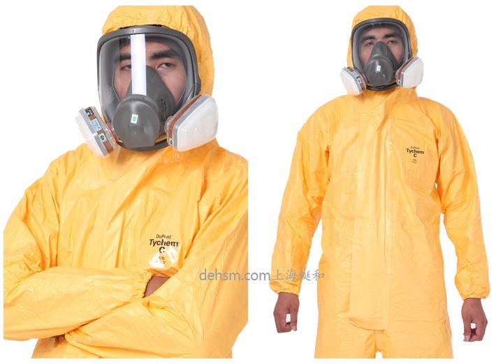 穿杜邦tychemC化学防护服戴防毒面具图片