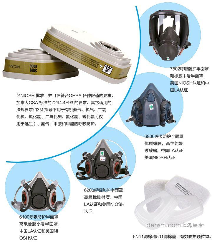 3m6006滤毒盒搭配3m防毒面具型号