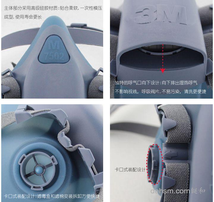 3M7502半面罩防毒面具细节图片