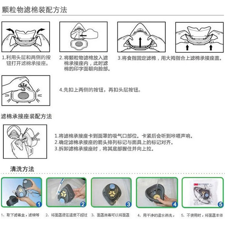 3m3200防尘口罩安装步骤