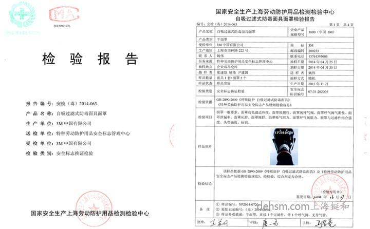 3M3200化工喷漆防毒面具检测报告