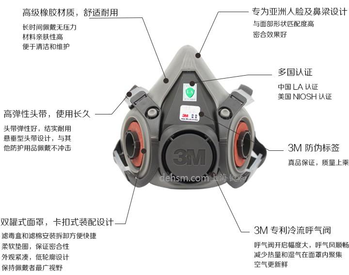 3M6200防毒半面罩性能特点