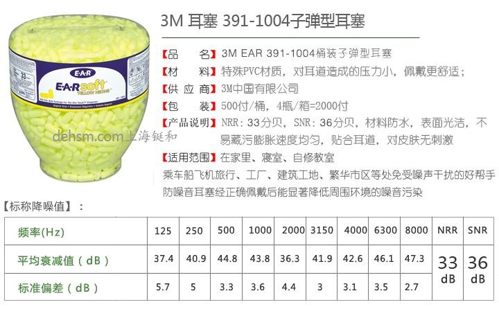 3M391-1004高降噪防噪音耳塞产品特点及性能
