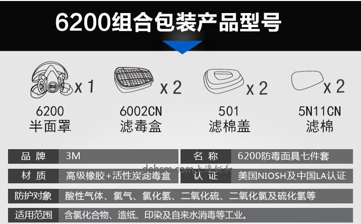 3M6200+6002防硫化氢及酸性气体防毒面具组合部件