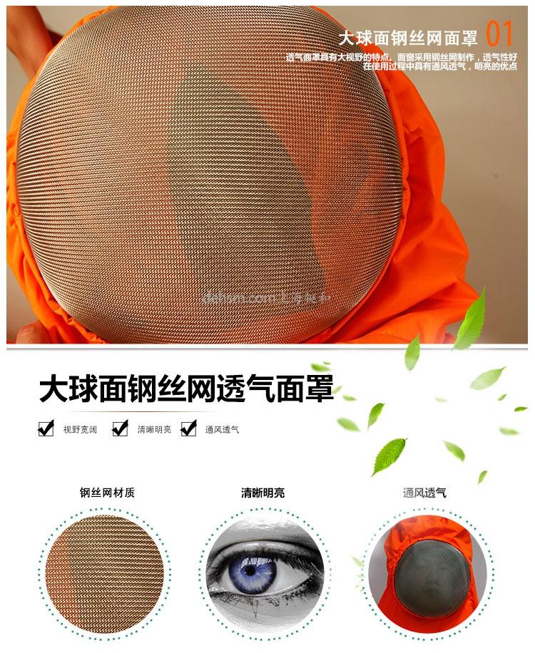 DH1030风扇型防蜂服打球面钢丝网面罩