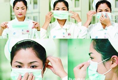 平面医用外科口罩正确戴法示意图
