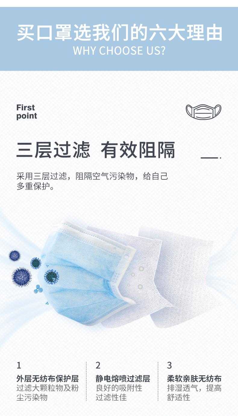 定和DH9001一次性使用无纺布口罩三层过滤材质