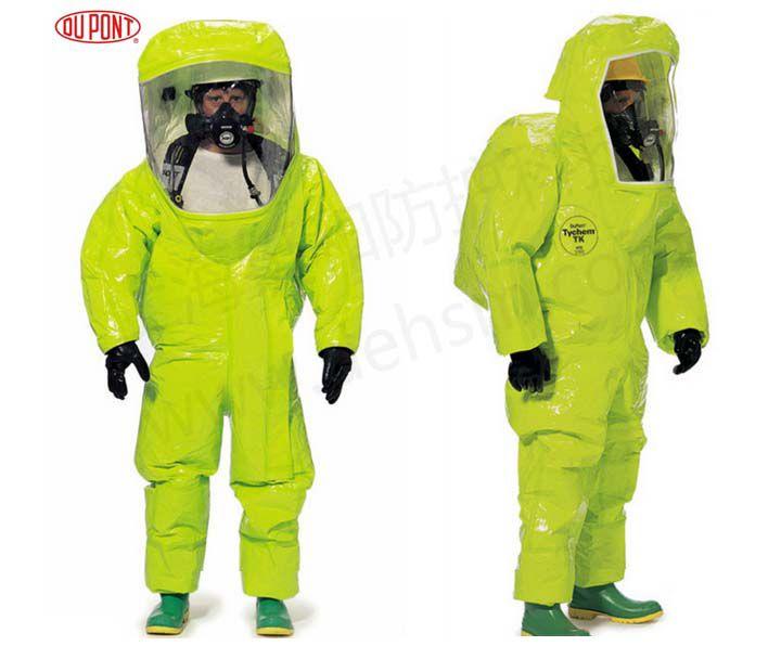 杜邦TK554 A级防护服配空气呼吸器使用图片