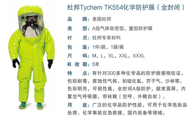 杜邦TK554 A级防护服产品性能及特点