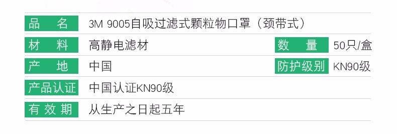3M9501+KN95防尘口罩信息