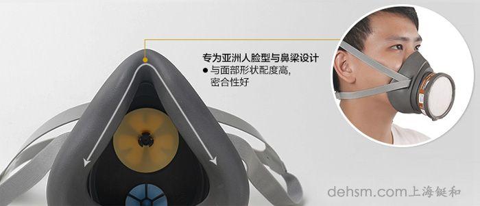 3M3200半面具防毒面具专为亚洲人设计