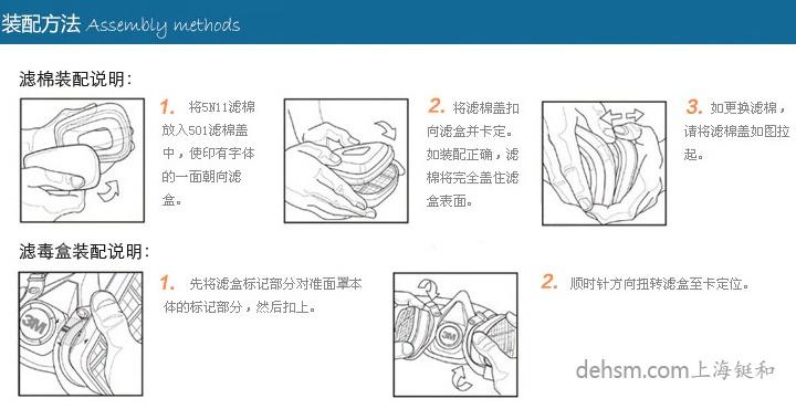 3m620P防毒面具滤毒盒安装方法